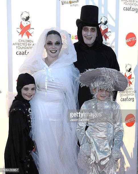 Eva La Rue, Joe Cappuccio and children attend CAAF's 17th annual Dream Halloween at Barker Hangar on October 30, 2010 in Santa Monica, California.
