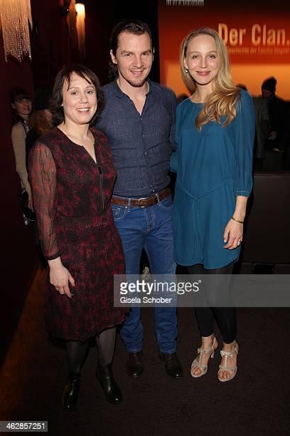 Eva Loebau Felix Klare Petra Schmidt Schaller attend the premiere of the film 'Der Clan Die Geschichte der Familie Wagner' at Gloria Palast on...