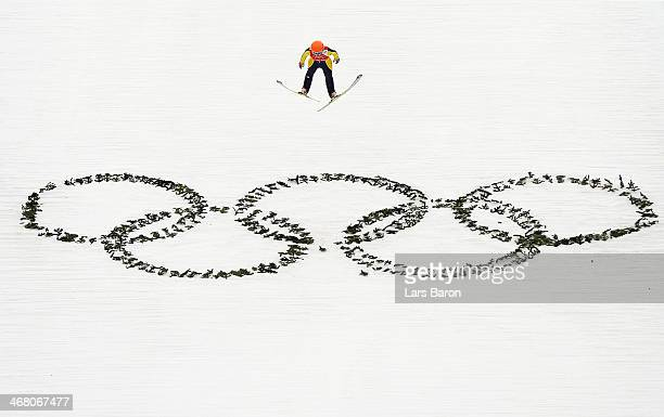 Eva Logar of Slovenia jumps during the Ladies' Normal Hill Individual Ski Jumping training on day 2 of the Sochi 2014 Winter Olympics at the RusSki...