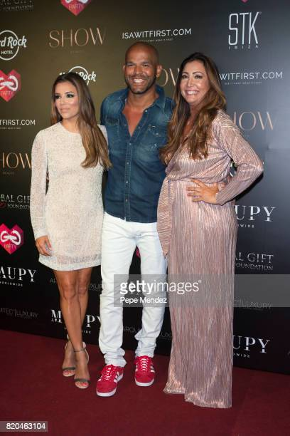 Eva Longoria Amaury Nolasco and Maria Bravo attend the Global Gift Gala party at STK Ibiza on July 21 2017 in Ibiza Spain