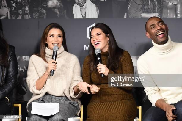 Eva Longoria America Ferrera and Charles King speak during MACRO Lodge Presents Netflix GENTEFIED Panel With Eva Longoria on January 25 2020 in Park...