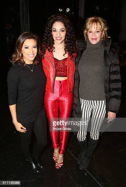 Eva Longoria Ana Villafane as 'Gloria Estefan' and Melanie Griffith pose backstage at the hit Gloria Estefan musical 'On Your Feet' on Broadway at...
