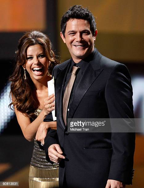 Eva Longoria and Alejandro Sanz present onstage at the 10th Annual Latin Grammy Awards heldA at Mandalay Bay on November 5 2009 in Las Vegas Nevada
