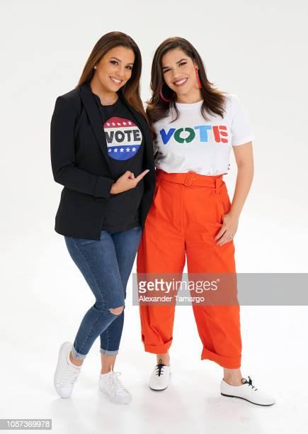 Eva Longoria and America Ferrera are seen prior to the Latinas Stand Up rally on November 4, 2018 in Miami, Florida.