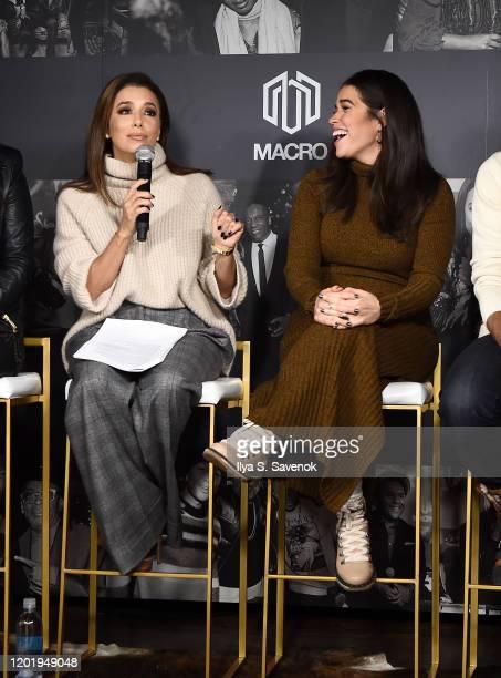 Eva Longoria and America Ferrera speak during MACRO Lodge Presents Netflix GENTEFIED Panel With Eva Longoria on January 25 2020 in Park City Utah