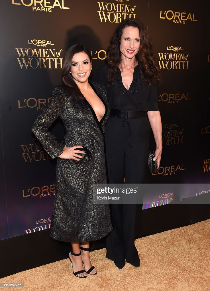 Eva Longoria and Andie MacDowell attend L'Oreal Paris Women of Worth Celebration 2017 on December 6, 2017 in New York City.