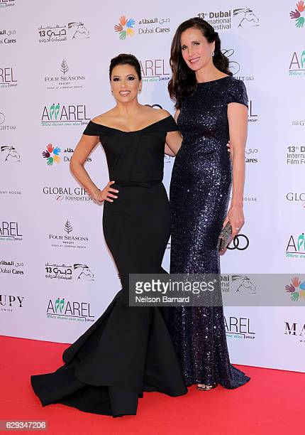 Eva Longoria and Andie MacDowell attend the Global Gift Gala during day six of the 13th annual Dubai International Film Festival held at the Four...