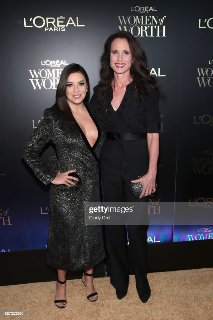Eva Longoria and Andie MacDowell attend the L'Oreal Paris Women of Worth Celebration 2017 on December 6, 2017 in New York City.