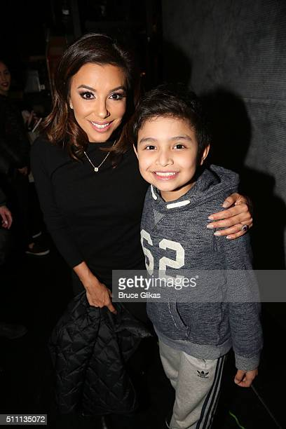 Eva Longoria and Eduardo Hernandez who plays Nayib Estefan pose backstage at the hit Gloria Estefan musical On Your Feet on Broadway at The Marquis...