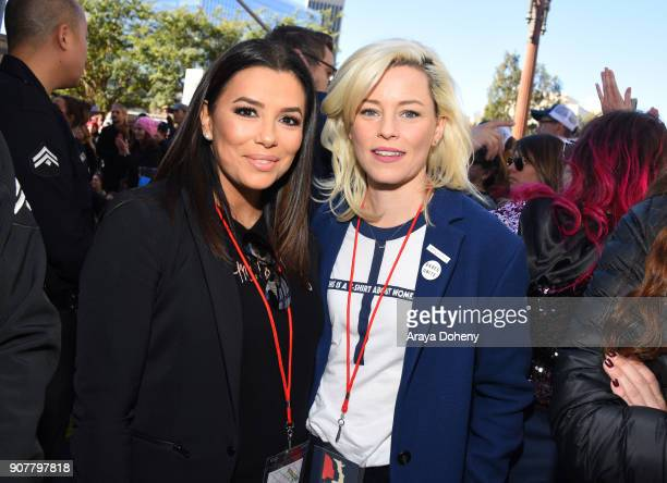 Eva Longoria and Elizabeth Banks at the 2018 Women's March Los Angeles at Pershing Square on January 20 2018 in Los Angeles California