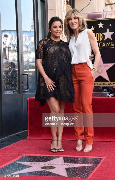 Eva Longoria and Felicity Huffman attend a ceremony honoring Eva Longoria with the 2,634th Star on the Hollywood Walk of Fame on April 16, 2018 in...