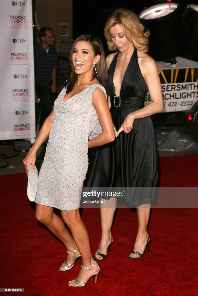 Eva Longoria and Felicity Huffman during The 33rd Annual People's Choice Awards - Arrivals at Shrine Auditorium in Los Angeles, California, United States.