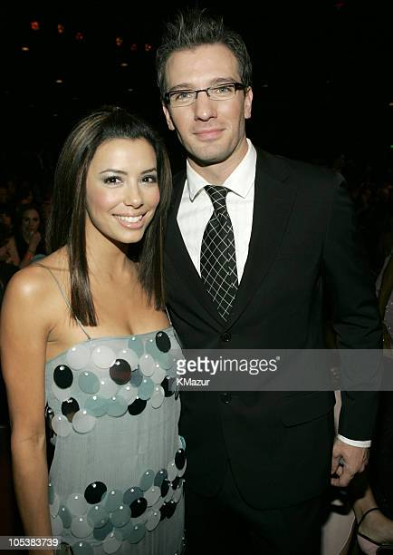 Eva Longoria and JC Chasez during 32nd Annual American Music Awards Backstage and Audience at Shrine Auditorium in Los Angeles California United...