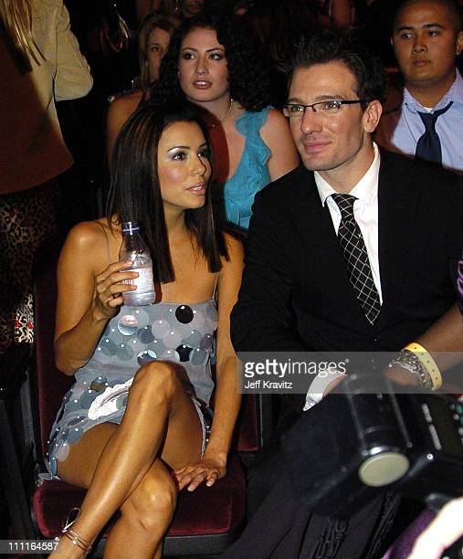 Eva Longoria and JC Chasez during 32nd Annual American Music Awards Backstage at Shrine Auditorium in Los Angeles California