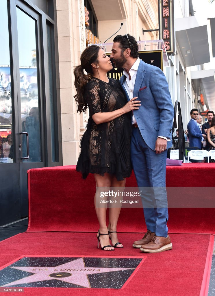 Eva Longoria and JosŽ Bast—n attend a ceremony honoring Eva Longoria with the 2,634th Star on the Hollywood Walk of Fame on April 16, 2018 in Hollywood, California.