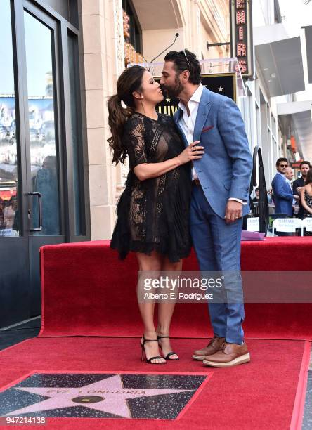 Eva Longoria and JosŽ Bast—n attend a ceremony honoring Eva Longoria with the 2634th Star on the Hollywood Walk of Fame on April 16 2018 in Hollywood...