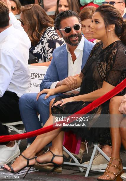 Eva Longoria and Jose Baston attend a ceremony honoring her with a star on the Hollywood Walk of Fame on April 16 2018 in Hollywood California