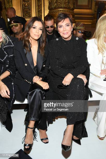 Eva Longoria and Kris Jenner attend the Balmain Womenswear Spring/Summer 2020 show as part of Paris Fashion Week on September 27, 2019 in Paris,...
