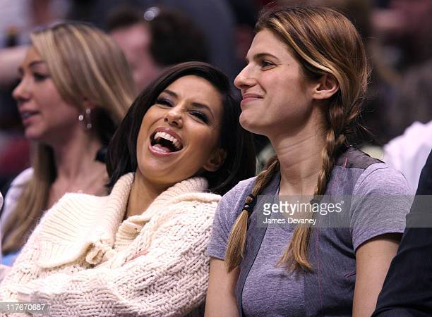 Eva Longoria and Lake Bell during Celebrities Attend San Antonio Spurs vs New Jersey Nets Game February 13 2007 at Continental Airlines Arena in New...