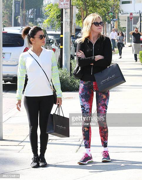 Eva Longoria and Melanie Griffith are seen on February 3 2015 in Los Angeles California