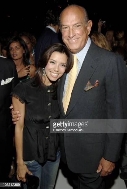 Eva Longoria and Oscar de la Renta during Olympus Fashion Week Spring 2006 - Oscar de la Renta - Front Row and Backstage at Bryant Park in New York...