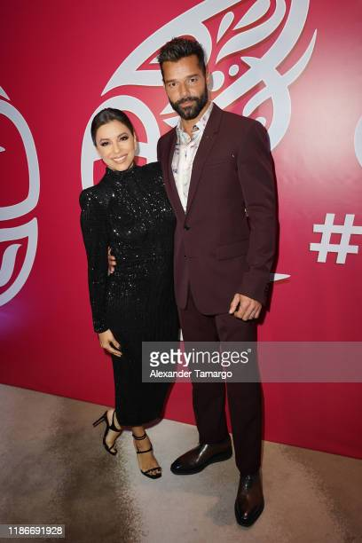 Eva Longoria and Ricky Martin are seen at the Global Gift Gala during Art Basel 2019 at the Eden Roc Hotel on December 5, 2019 in Miami Beach,...