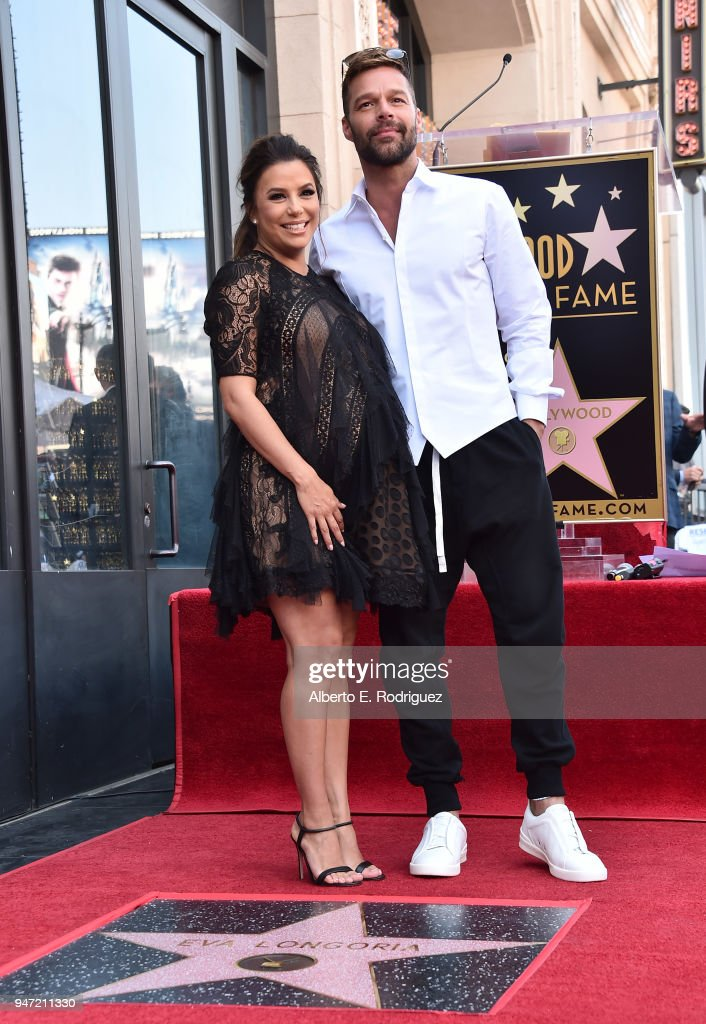 Eva Longoria and Ricky Martin attend a ceremony honoring Eva Longoria with the 2,634th Star on the Hollywood Walk of Fame on April 16, 2018 in Hollywood, California.
