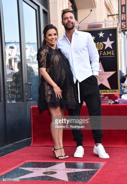Eva Longoria and Ricky Martin attend a ceremony honoring Eva Longoria with the 2634th Star on the Hollywood Walk of Fame on April 16 2018 in...