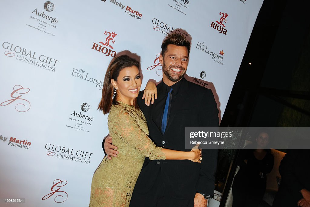 Eva Longoria and Ricky Martin attend Global Gift Foundation Dinner at Auberge Residences & Spa sales office on December 3, 2015 in Miami, Florida.