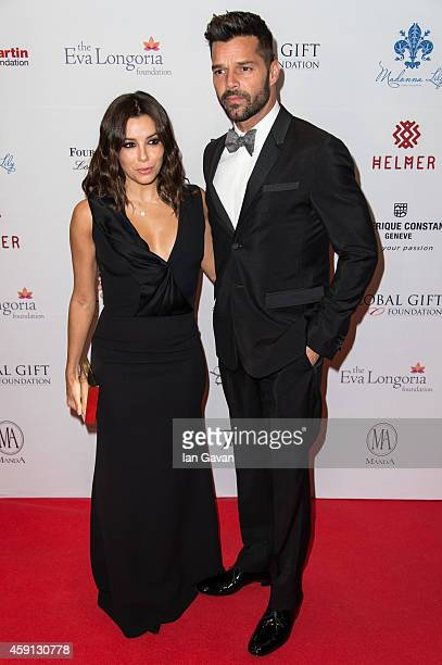Eva Longoria and Ricky Martin attend the 5th Global Gift Gala hosted by honorary chair Eva Longoria at the Four Seasons Hotel on November 17 2014 in...