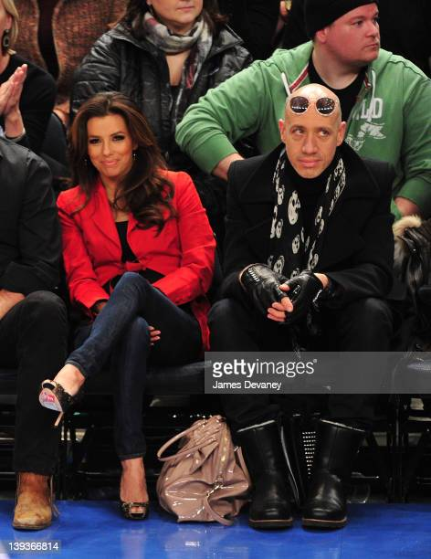 Eva Longoria and Robert Verdi attend the Dallas Mavericks vs New York Knicks game at Madison Square Garden on February 19 2012 in New York City