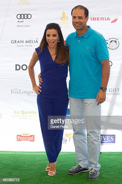 Eva Longoria and Saad Azzam Faris attend the Global Gift Celebrity Golf Tournament to help raise money for The Eva Longoria Foundation and The Bertin...