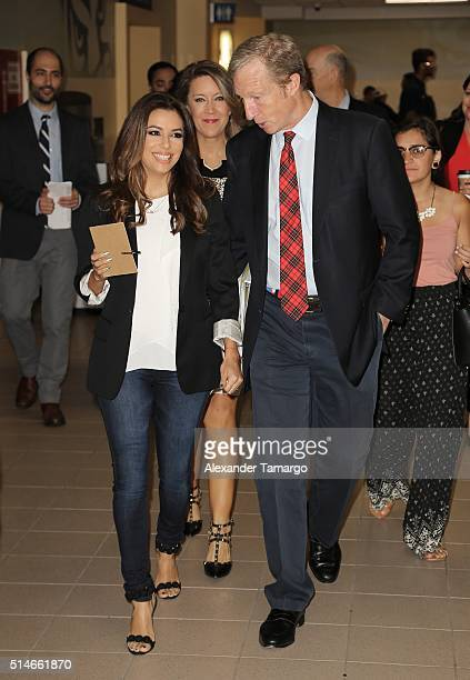 Eva Longoria and Tom Steyer are seen attending the 'Climate Change and Economic Opportunity' panel discussion at Florida International University on...