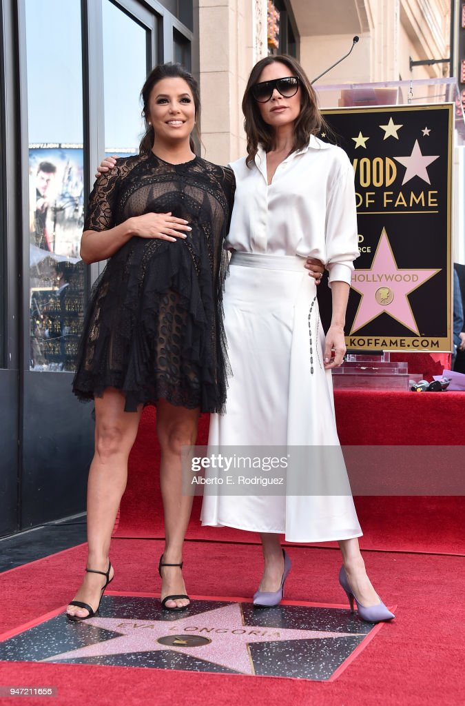 Eva Longoria and Victoria Beckham attend a ceremony honoring Eva Longoria with the 2,634th Star on the Hollywood Walk of Fame on April 16, 2018 in Hollywood, California.