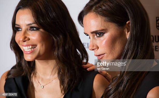 Eva Longoria and Victoria Beckham attend the 5th Global Gift Gala hosted by honorary chair Eva Longoria at the Four Seasons Hotel on November 17 2014...