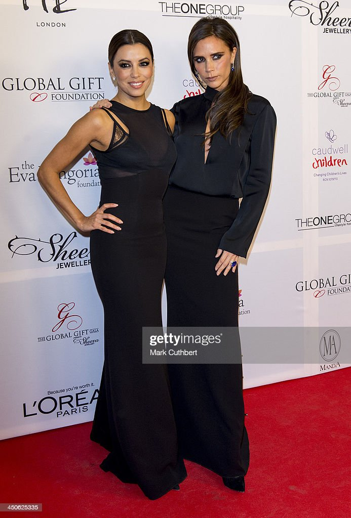 Eva Longoria and Victoria Beckham attend the London Global Gift Gala at ME Hotel on November 19, 2013 in London, England.