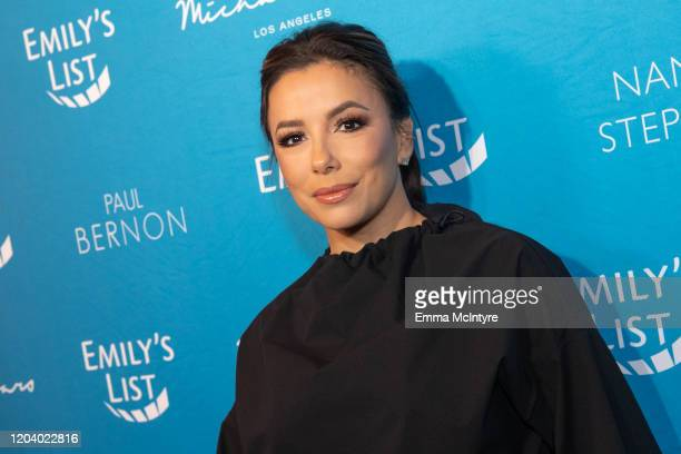 Eva Longoria arrives at Emily's List 3rd annual pre-oscars event at Four Seasons Hotel Los Angeles at Beverly Hills on February 04, 2020 in Los...