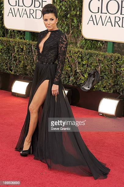 Eva Longoria arrives at the 70th Annual Golden Globe Awards at The Beverly Hilton Hotel on January 13 2013 in Beverly Hills California