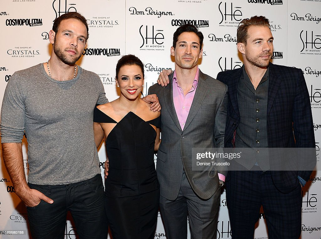 Eva Longoria (2nd L) arrives at the grand opening of SHe by Morton's at Crystals at CityCenter on February 2, 2013 in Las Vegas, Nevada.