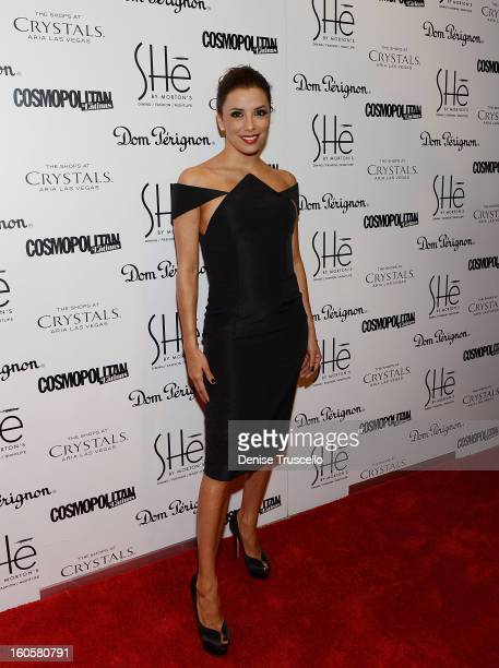 Eva Longoria arrives at the grand opening of SHe by Morton's at Crystals at CityCenter on February 2 2013 in Las Vegas Nevada