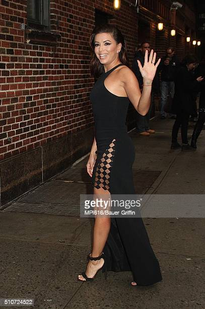 Eva Longoria arrives at 'The Late Show with Stephen Colbert' on February 16 2016 in New York City
