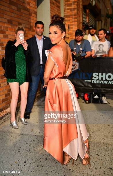 Eva Longoria arrives to the 'The Daily Show With Trevor Noah' on August 5, 2019 in New York City.