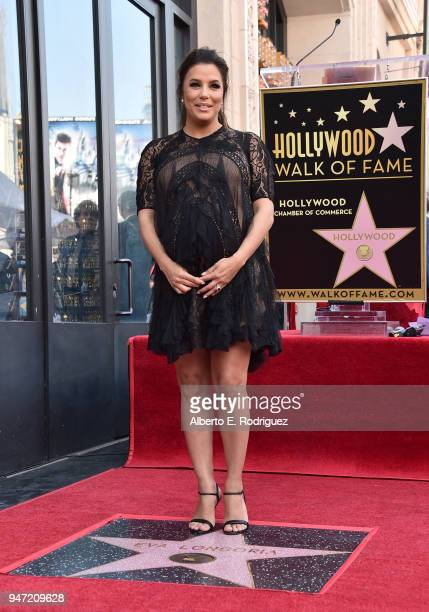 Eva Longoria attends a ceremony honoring her with the 2634th Star on the Hollywood Walk of Fame on April 16 2018 in Hollywood California