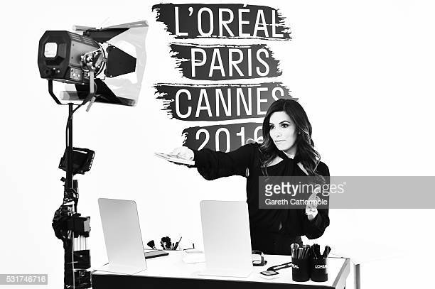 Eva Longoria attends a L'Oreal makeup masterclass at Martinez Hotel during the 69th annual Cannes Film Festival on May 12 2016 in Cannes France