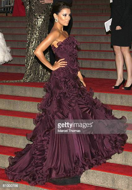 """Eva Longoria attends the Art Costume Institute Gala """"Superheroes : Fashion and Fantasy"""" at the Metropolitan Museum on May 05, 2008 in New York City,..."""