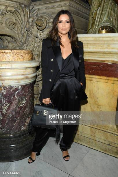 Eva Longoria attends the Balmain Womenswear Spring/Summer 2020 show as part of Paris Fashion Week on September 27, 2019 in Paris, France.