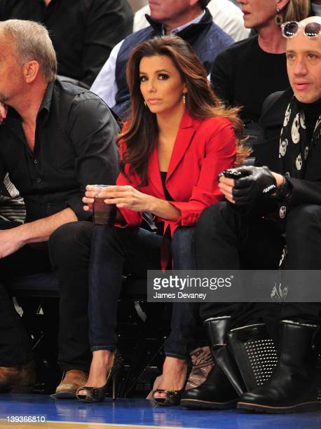Eva Longoria attends the Dallas Mavericks vs New York Knicks game at Madison Square Garden on February 19 2012 in New York City