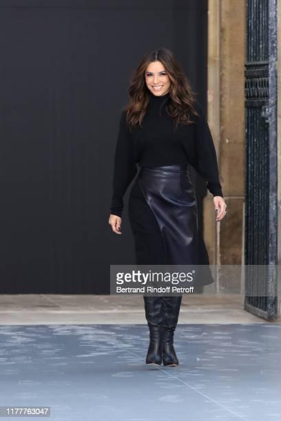 """Eva Longoria attends the """"Le Defile L'Oreal Paris"""" show as part of Paris Fashion Week At Monnaie de Paris on September 28, 2019 in Paris, France."""
