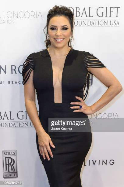 Eva Longoria Baston arrives at 2018 Global Gift Gala at Eden Roc Hotel on December 6 2018 in Miami Beach Florida