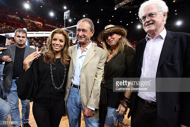 Eva Longoria Bertrand Delanoe the Mayor of Paris Pamela Firestone Tony Parker's mother and Lionel Jospin former Prime Minister of France at the...